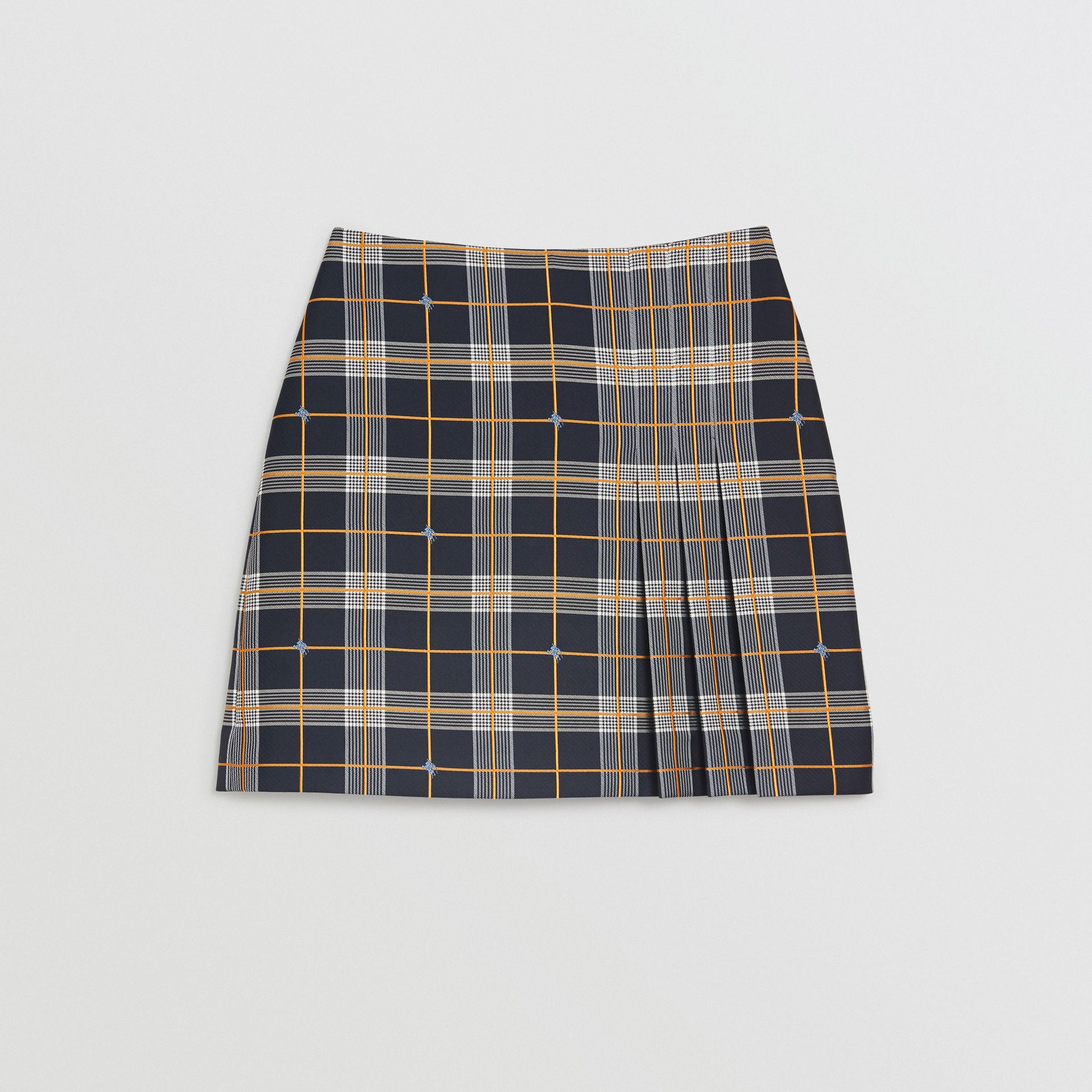 Pleat Detail Check Mini Skirt in Navy - Women | Burberry Singapore - gallery image 3