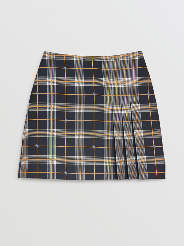 Pleat Detail Check Mini Skirt in Navy - Women | Burberry - cell image 3