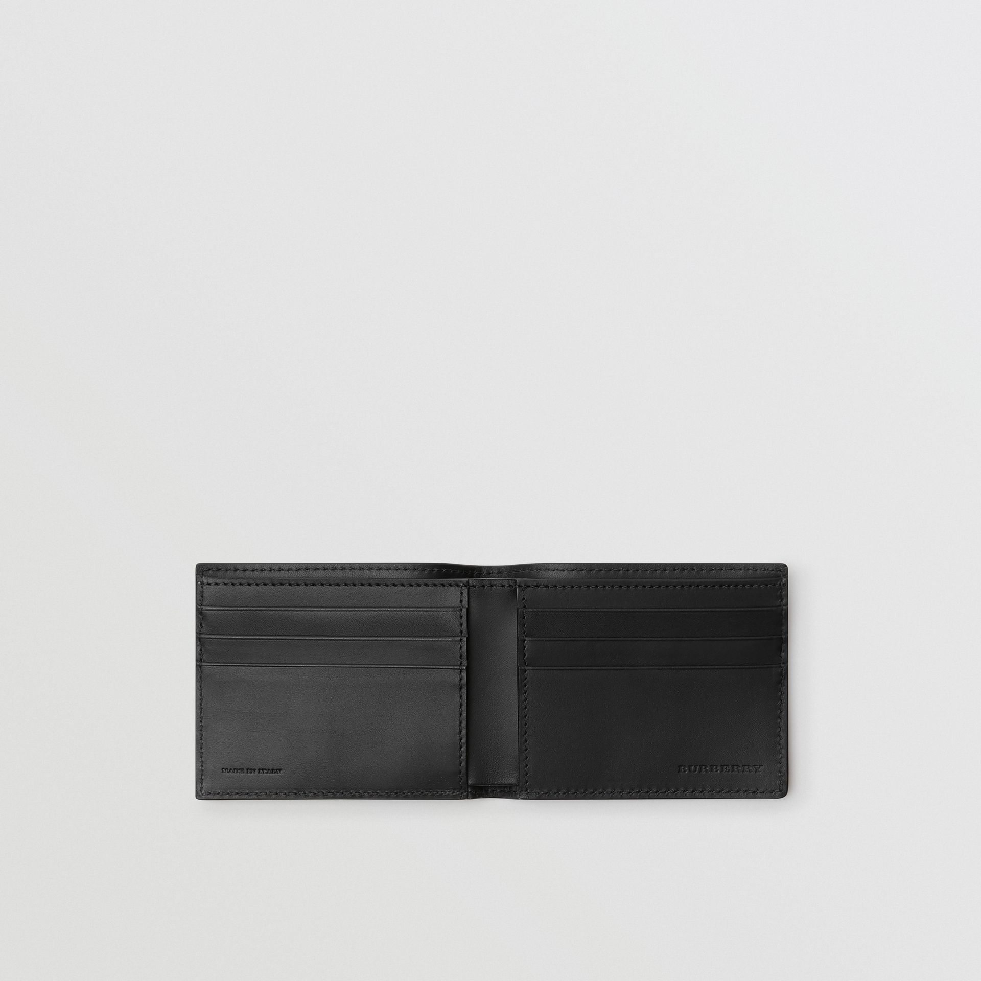 Grainy Leather Bifold Wallet in Black - Men | Burberry Hong Kong - gallery image 3