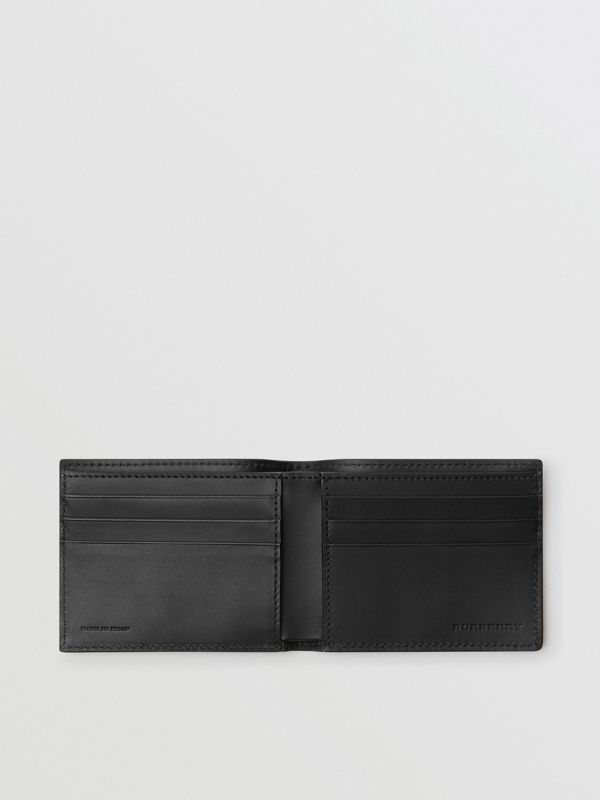 Grainy Leather Bifold Wallet in Black - Men | Burberry Australia - cell image 3