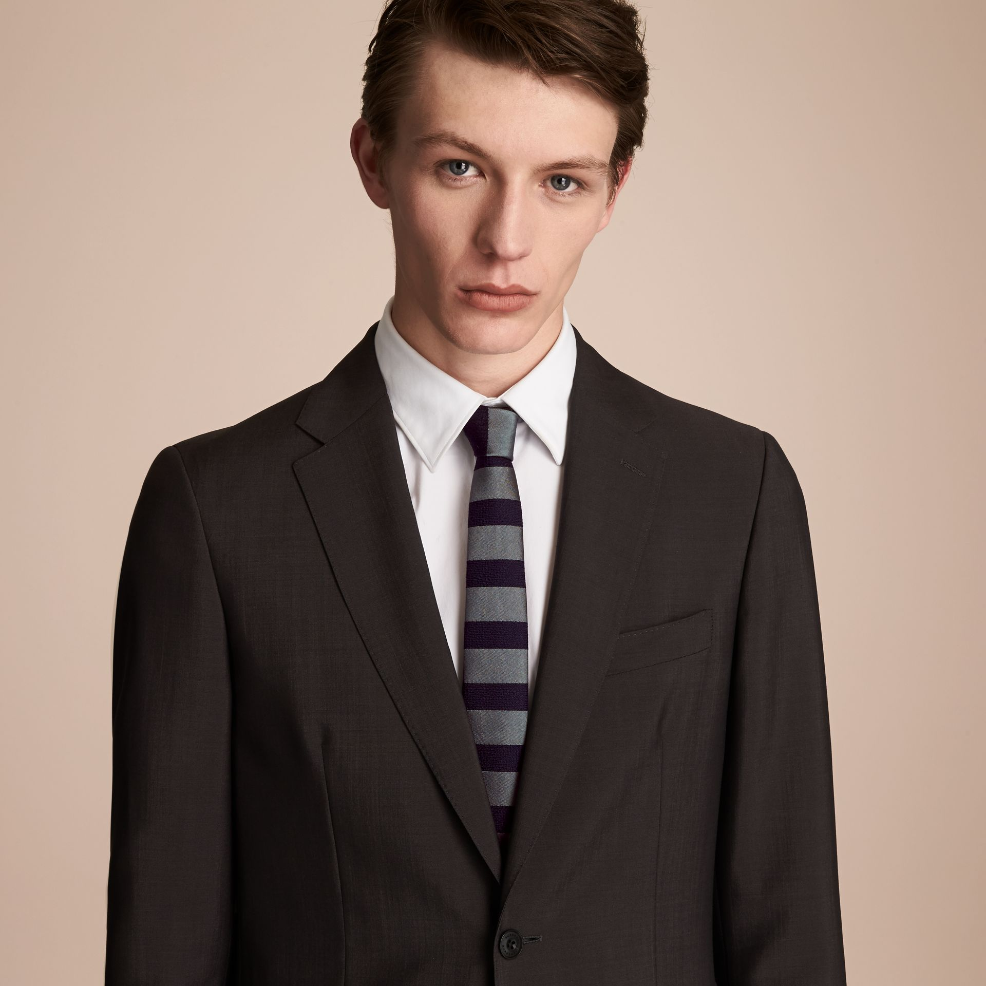 Slim Cut Striped Silk Wool Tie in Sage Green - Men | Burberry - gallery image 2