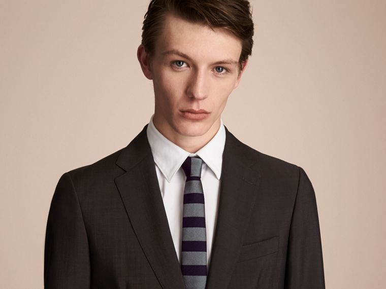 Slim Cut Striped Silk Wool Tie in Sage Green - Men | Burberry - cell image 2