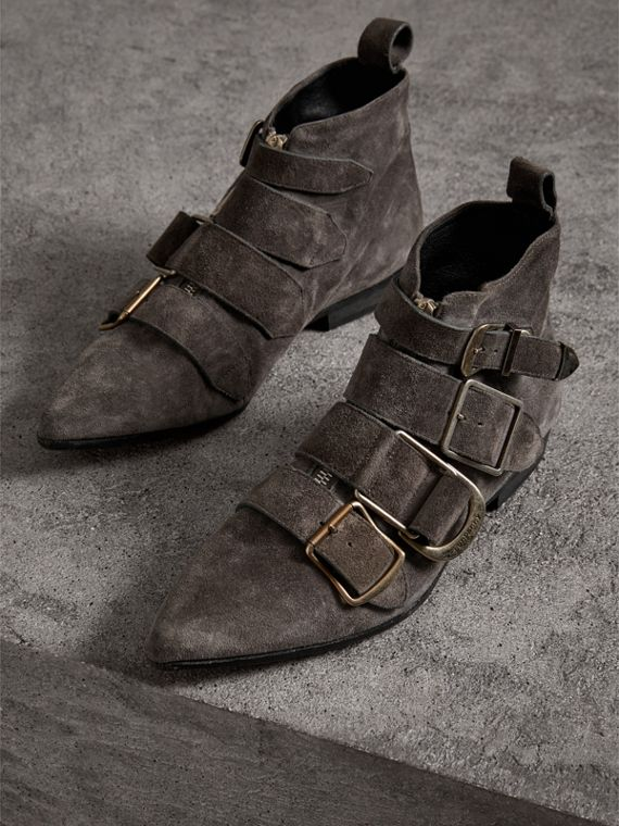 Buckle Detail Suede Ankle Boots in Dark Storm Grey - Women | Burberry United Kingdom - cell image 3