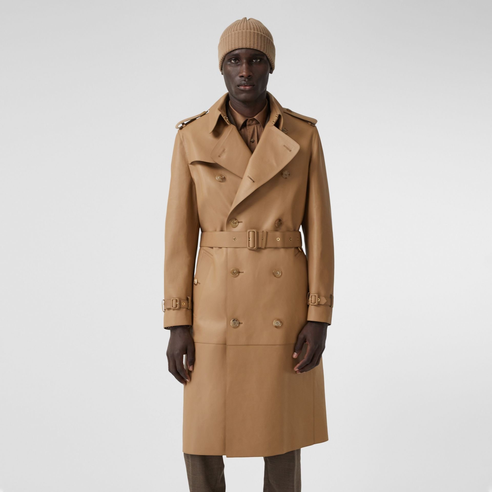Plonge Leather Trench Coat in Camel - Men | Burberry - gallery image 7