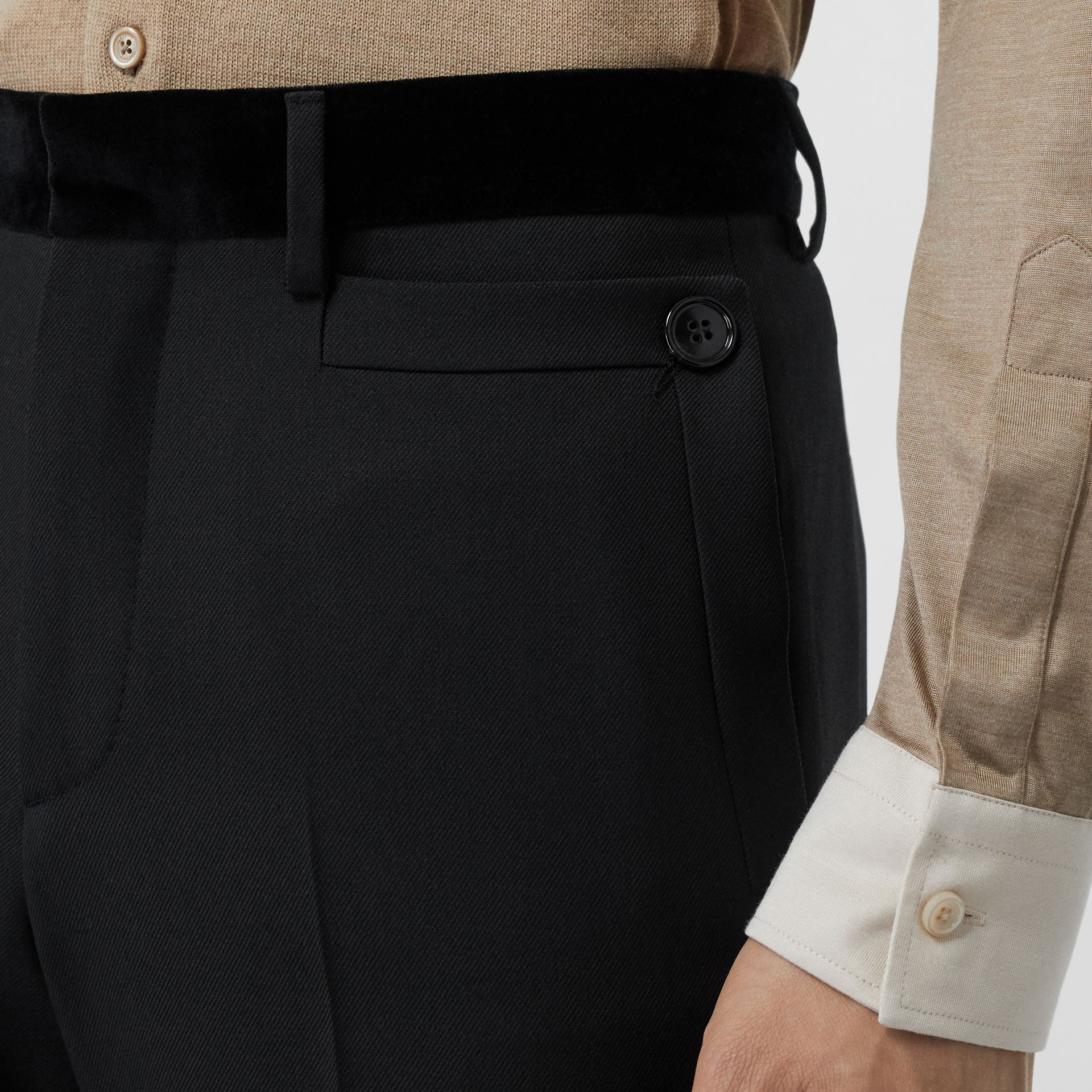 Velvet Trim Wool Tailored Trousers in Black - Men | Burberry United States - gallery image 1