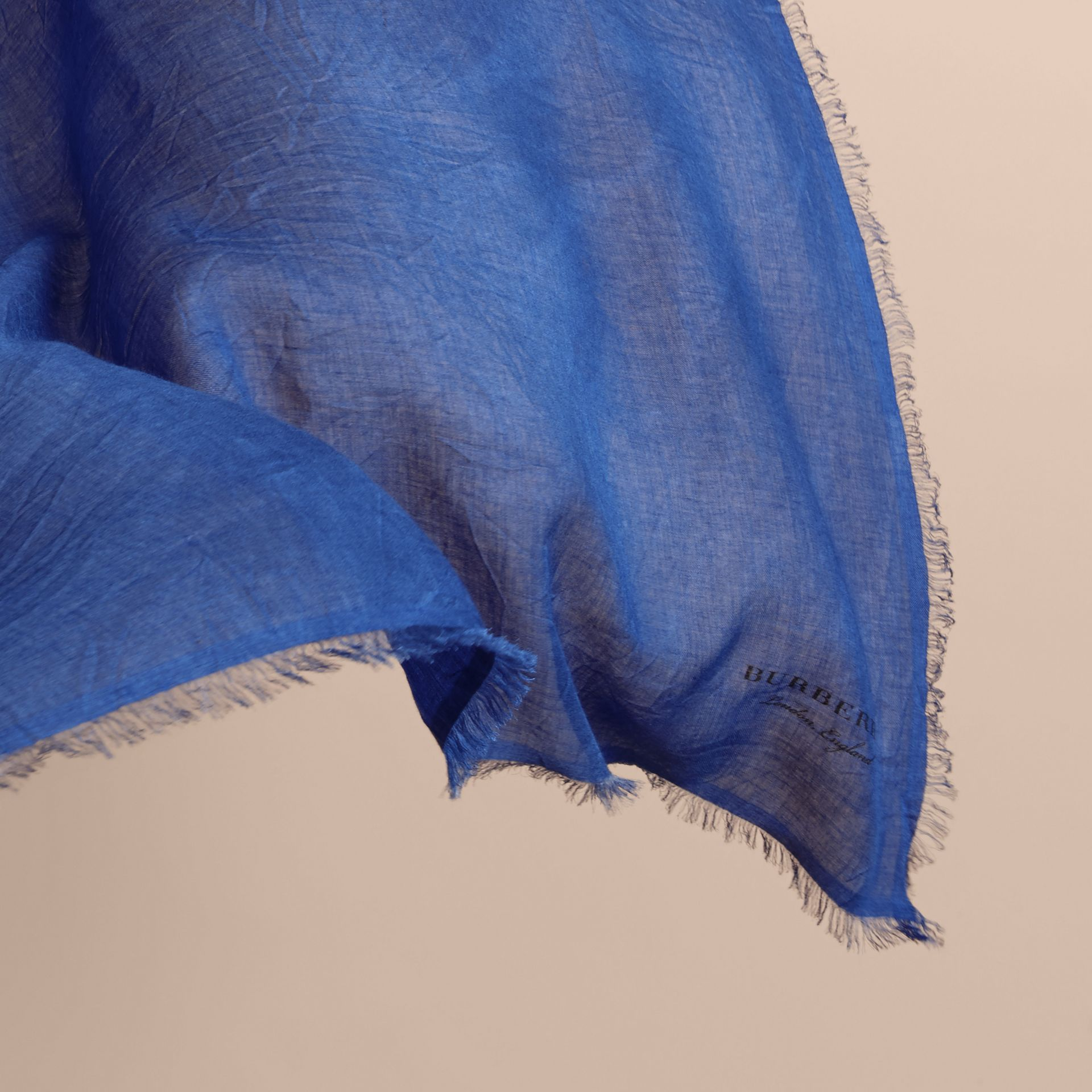 Lightweight Overdyed Modal Wool Scarf in Bright Cornflower - gallery image 4