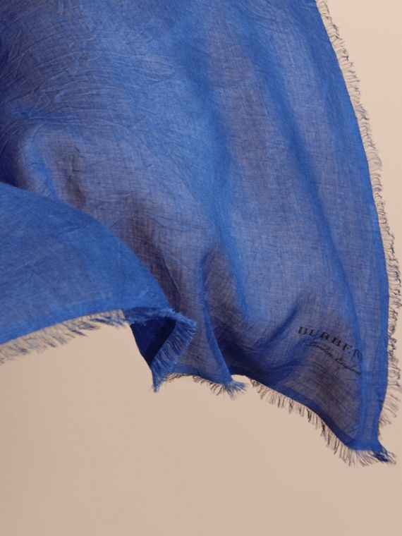 Lightweight Overdyed Modal Wool Scarf in Bright Cornflower | Burberry - cell image 3