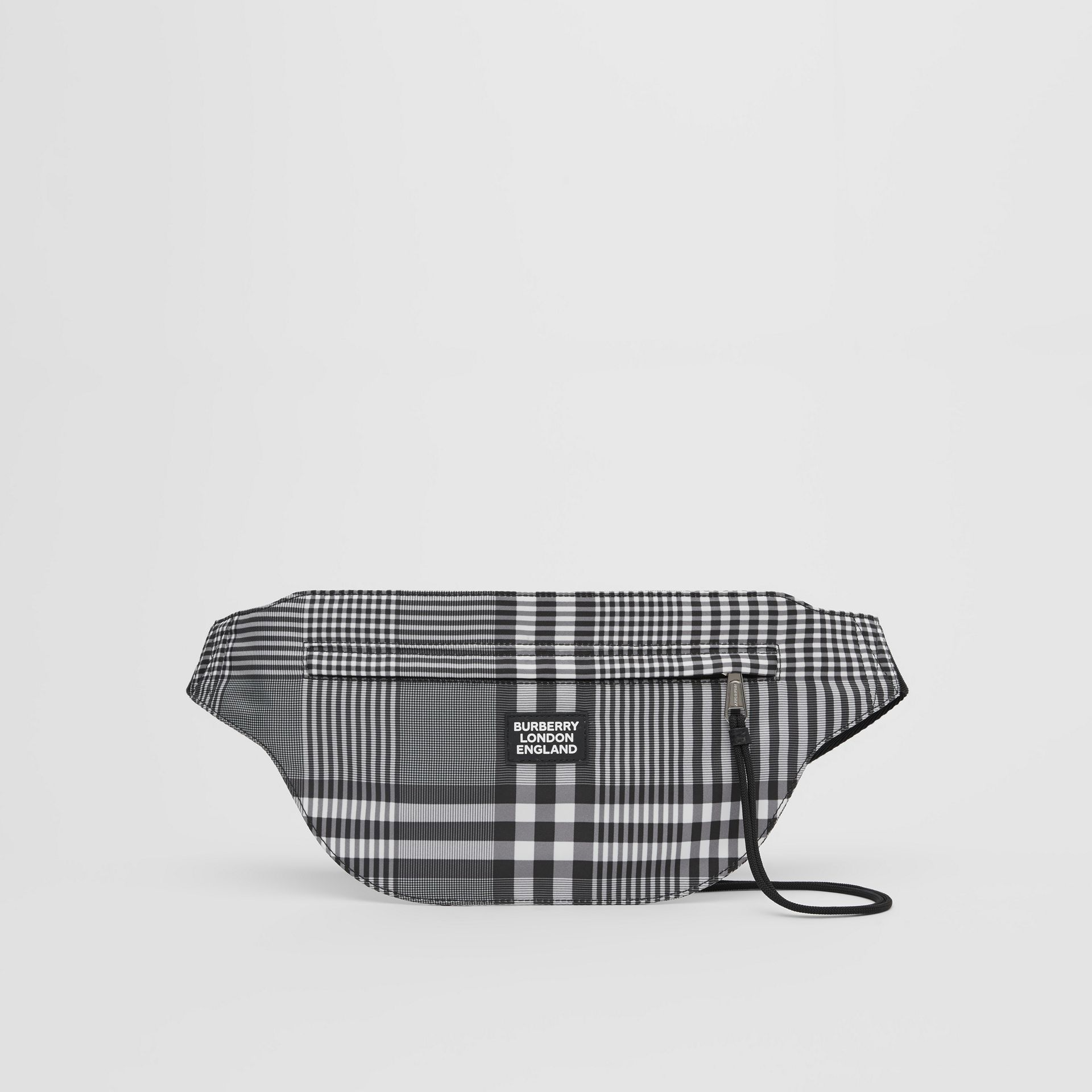 Logo Appliqué Check Brummell Bum Bag in Black/white - Men | Burberry United States - gallery image 0
