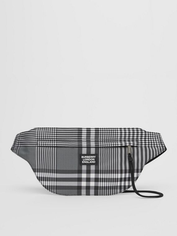 Logo Appliqué Check Brummell Bum Bag in Black/white