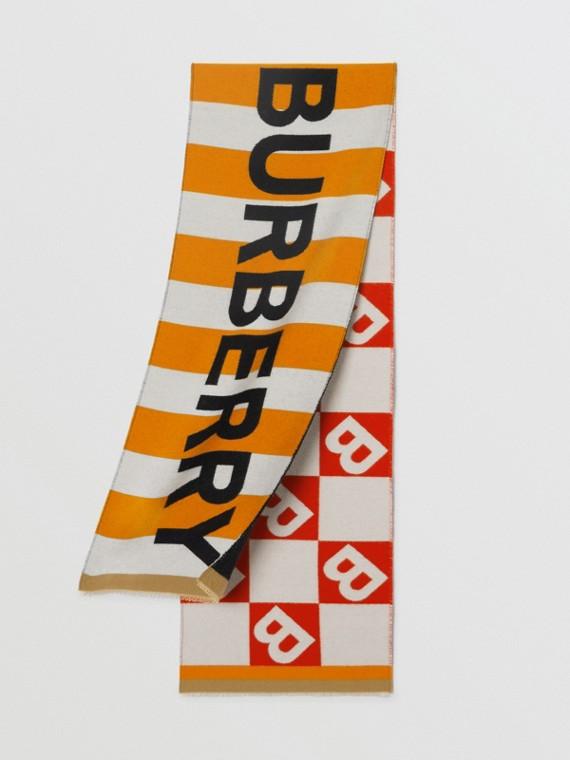 Logo and B Motif Wool Cotton Jacquard Scarf in Bright Orange