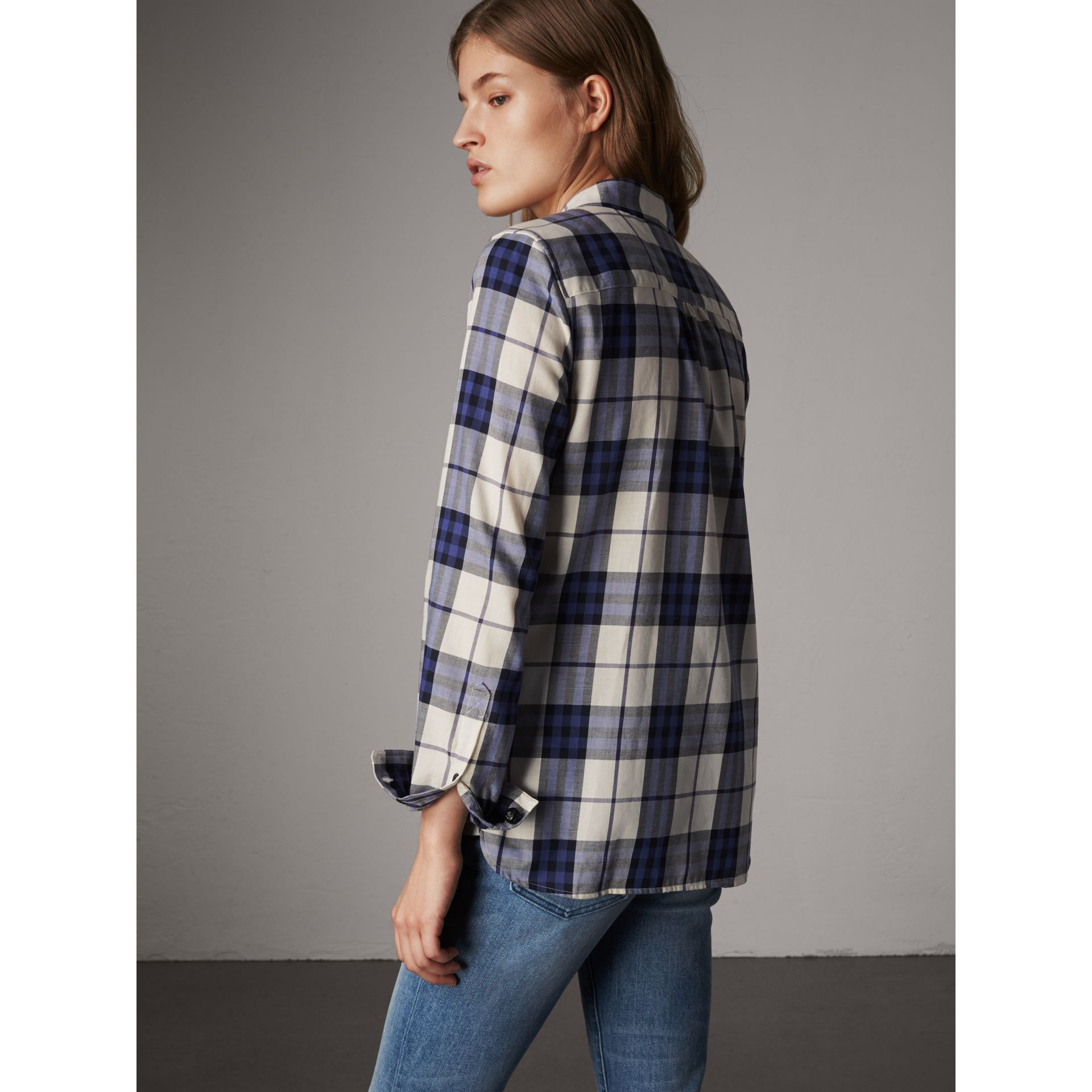 Pussy-bow Check Flannel Shirt in Bright Navy - Women | Burberry - gallery image 3