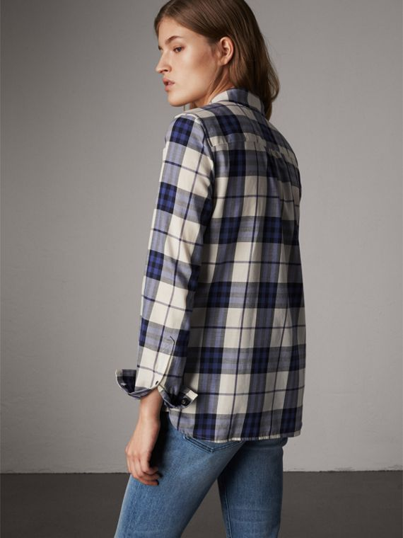 Pussy-bow Check Flannel Shirt in Bright Navy - Women | Burberry - cell image 2