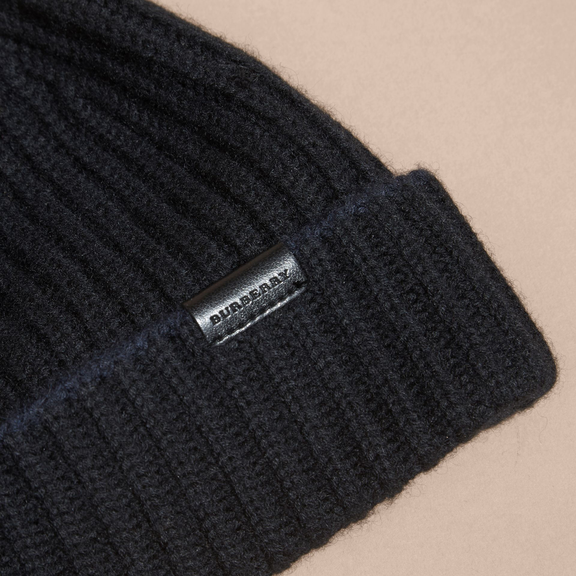 Black/dark navy Ribbed Cashmere Tipped Beanie - gallery image 2