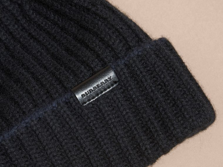 Black/dark navy Ribbed Cashmere Tipped Beanie - cell image 1