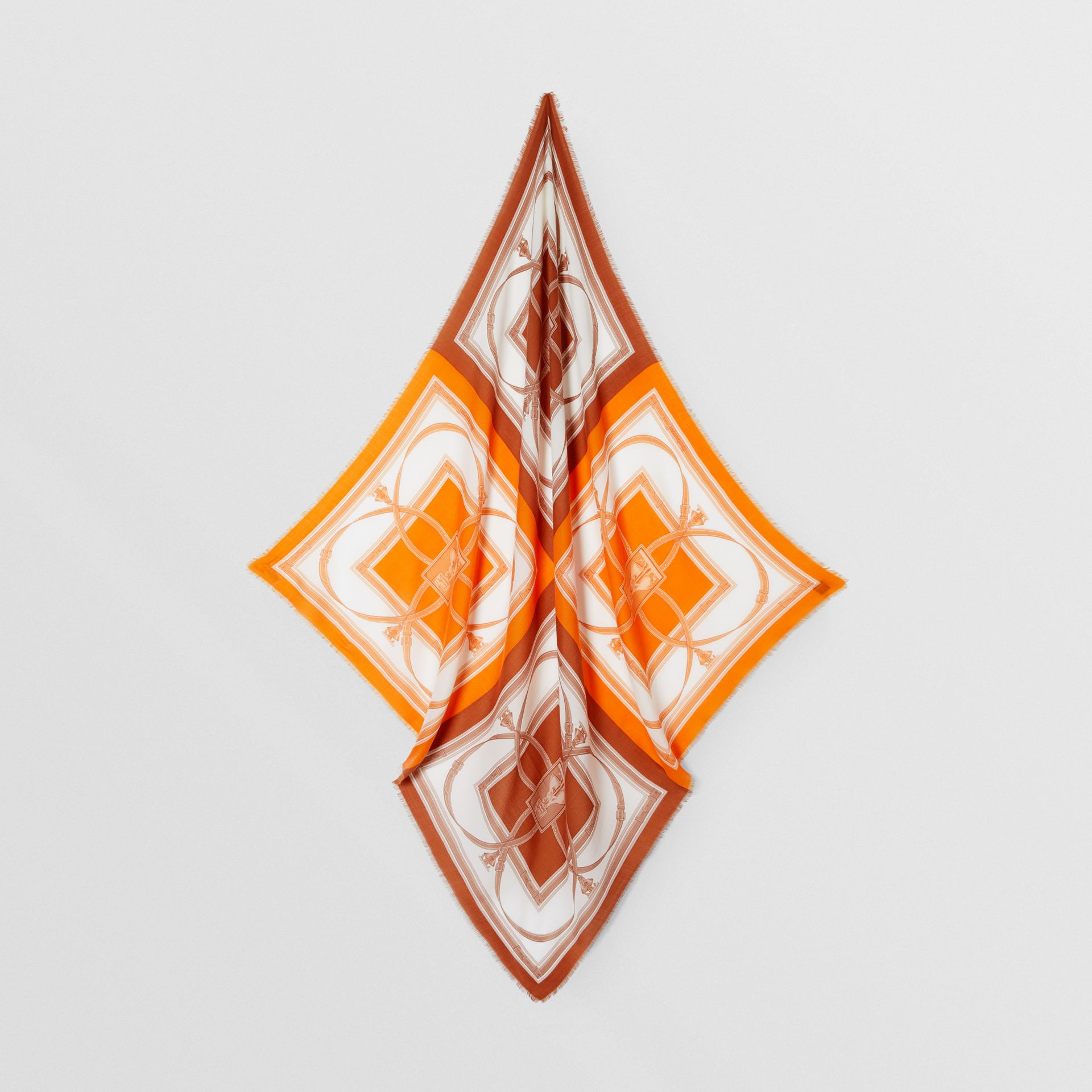 Archive Scarf Print Cashmere Large Square Scarf in Orange | Burberry United States - gallery image 4