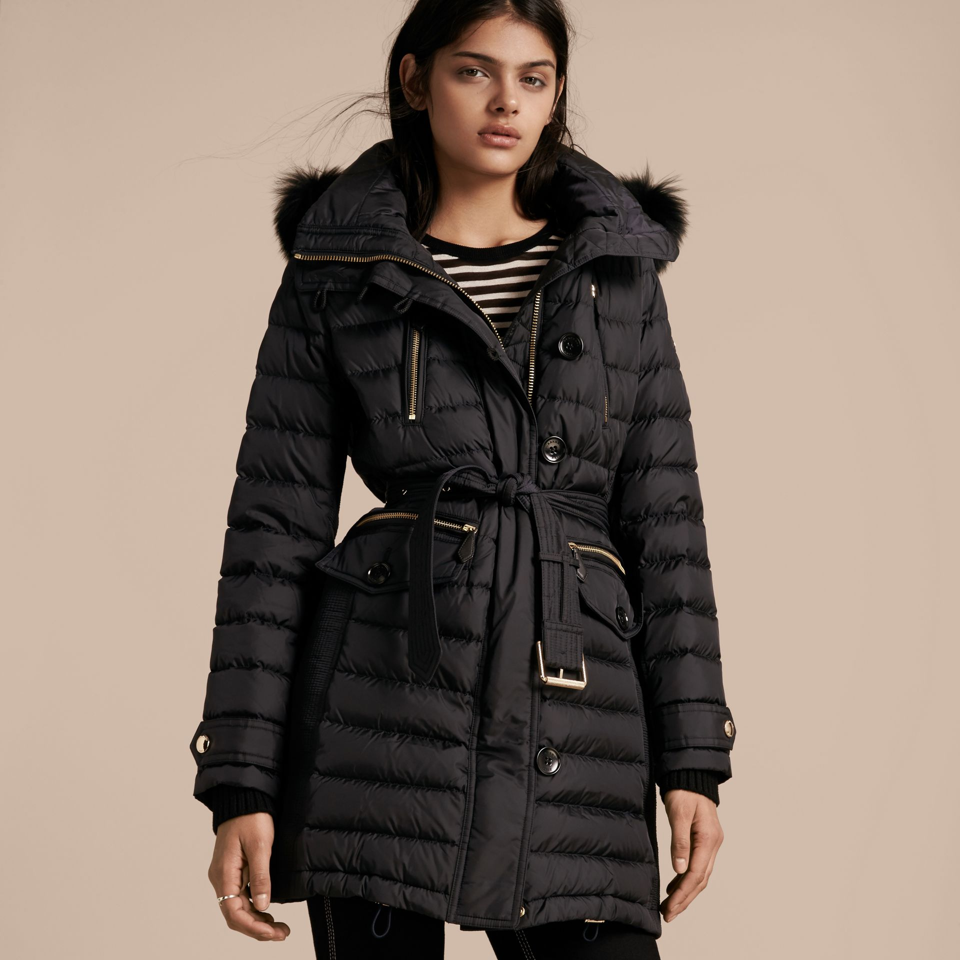 Navy Down-filled Parka with Detachable Fox Fur Trim Navy - gallery image 7