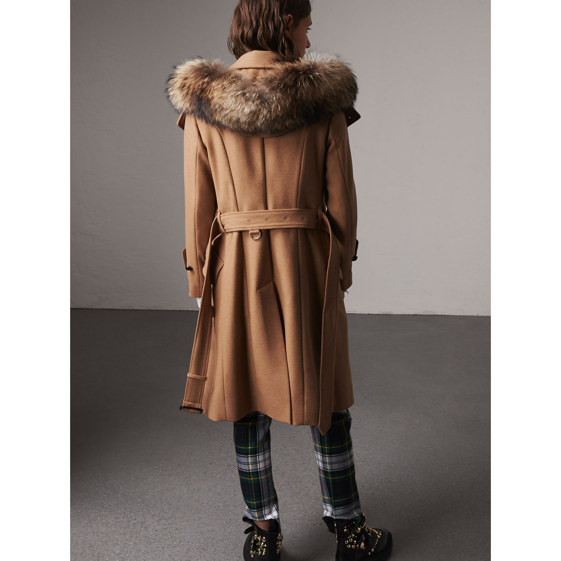 Hooded Wool Blend Coat with Detachable Fur Trim in Camel Melange - Women | Burberry - gallery image 2