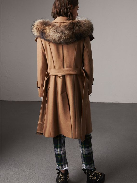 Hooded Wool Blend Coat with Detachable Fur Trim in Camel Melange - Women | Burberry - cell image 2