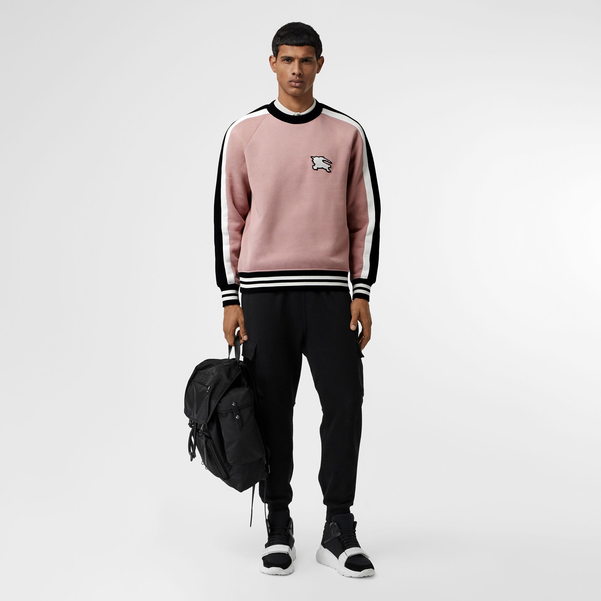 Stripe Detail Cotton Jersey Sweatshirt in Pale Orchid - Men | Burberry United Kingdom - gallery image 0