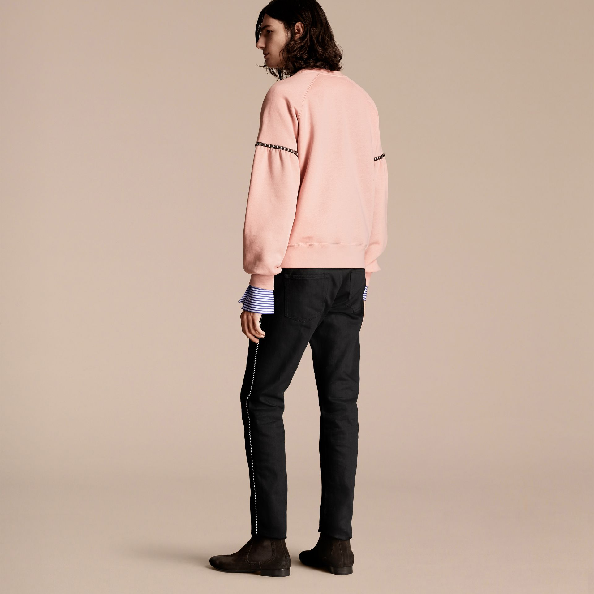 Dusty pink Bell-sleeved Cotton Blend Sweatshirt - gallery image 3