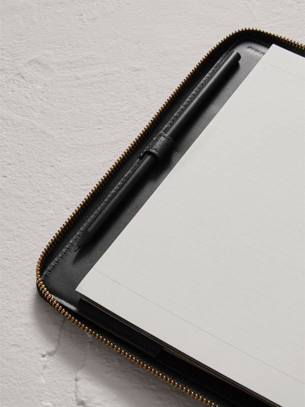 Embossed Leather Ziparound A5 Notebook Case in Black | Burberry Canada - cell image 3