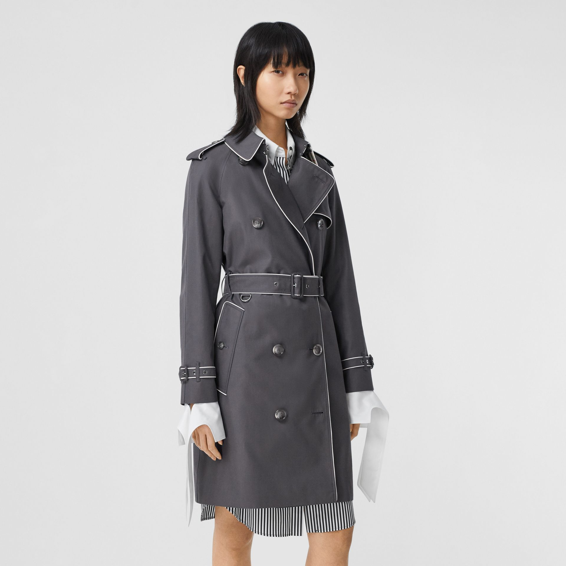 Piped Cotton Gabardine Trench Coat in Mid Grey - Women | Burberry - gallery image 6