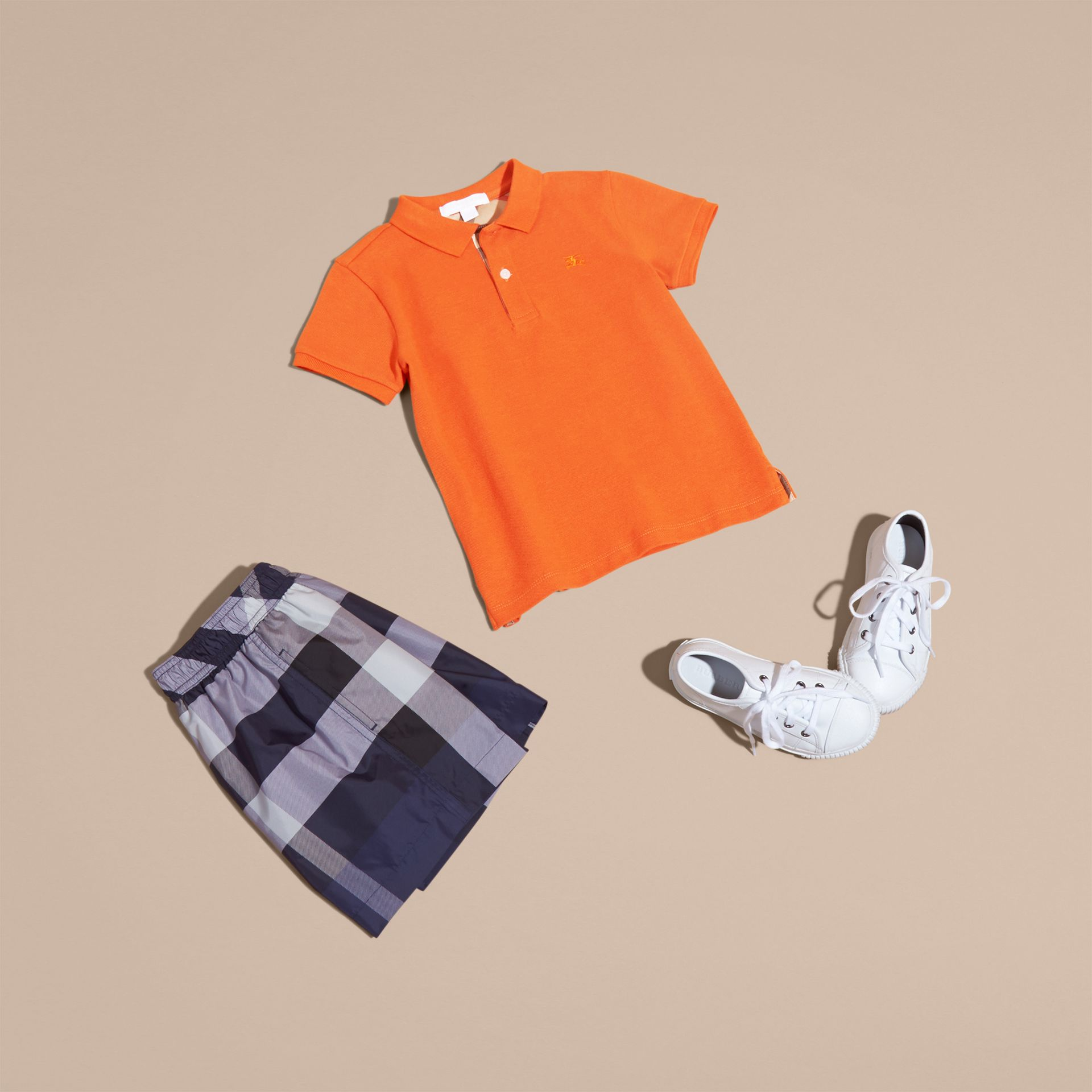 Check Placket Polo Shirt in Clementine | Burberry - gallery image 5