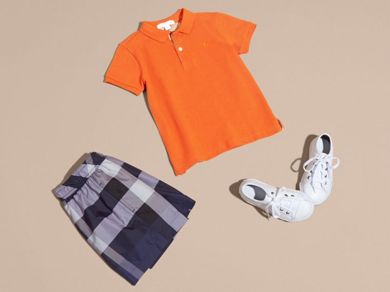 Check Placket Polo Shirt in Clementine - Boy | Burberry - cell image 4
