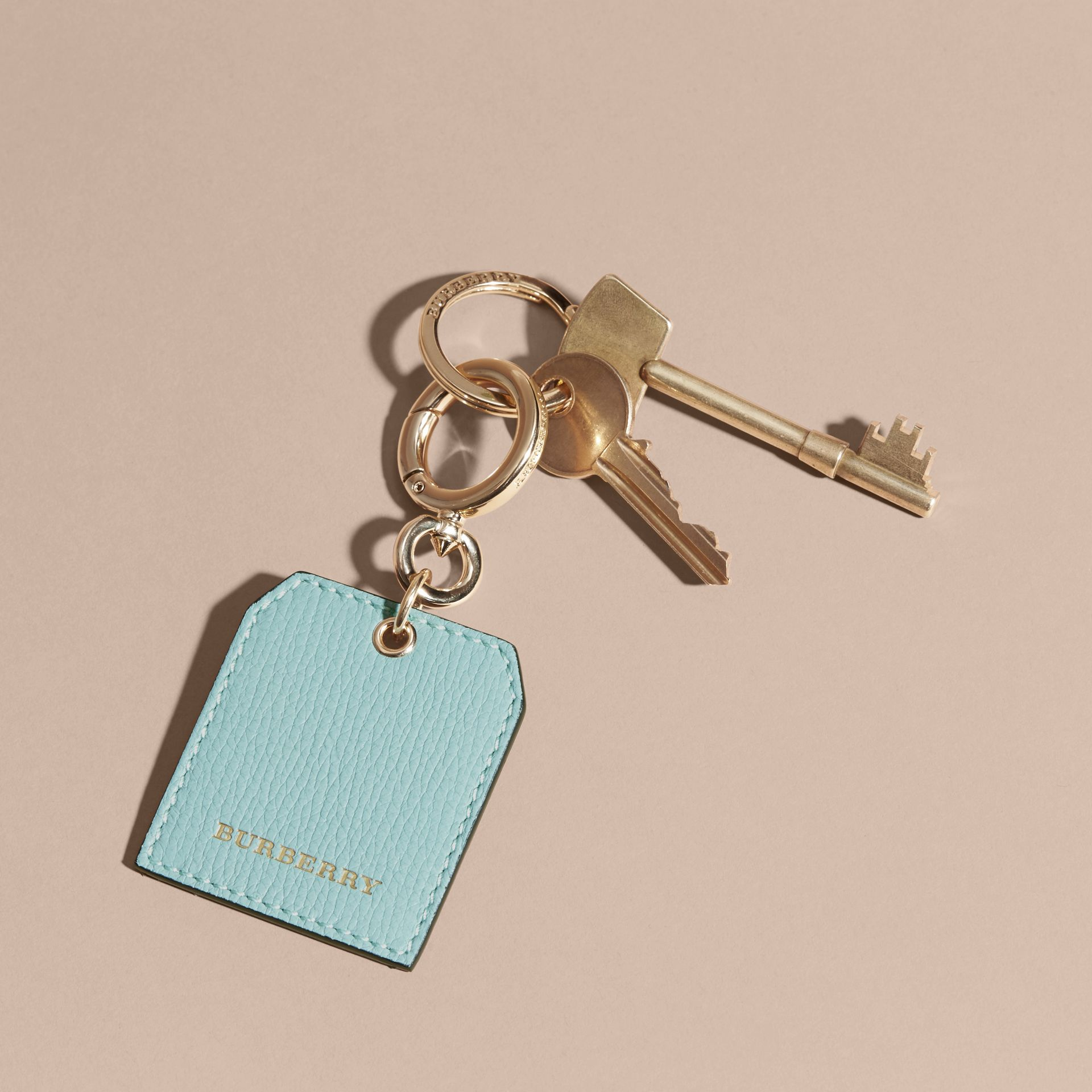 Grainy Leather Key Charm in Pale Opal - Women | Burberry - gallery image 3