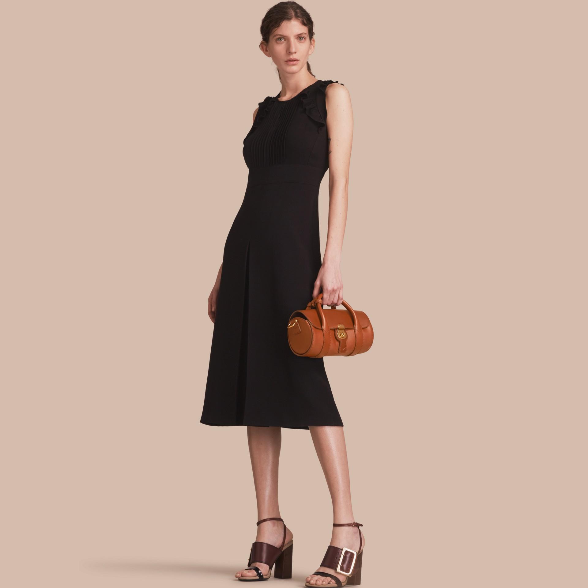 Sleeveless Ruffle Trim Crepe Dress - gallery image 1