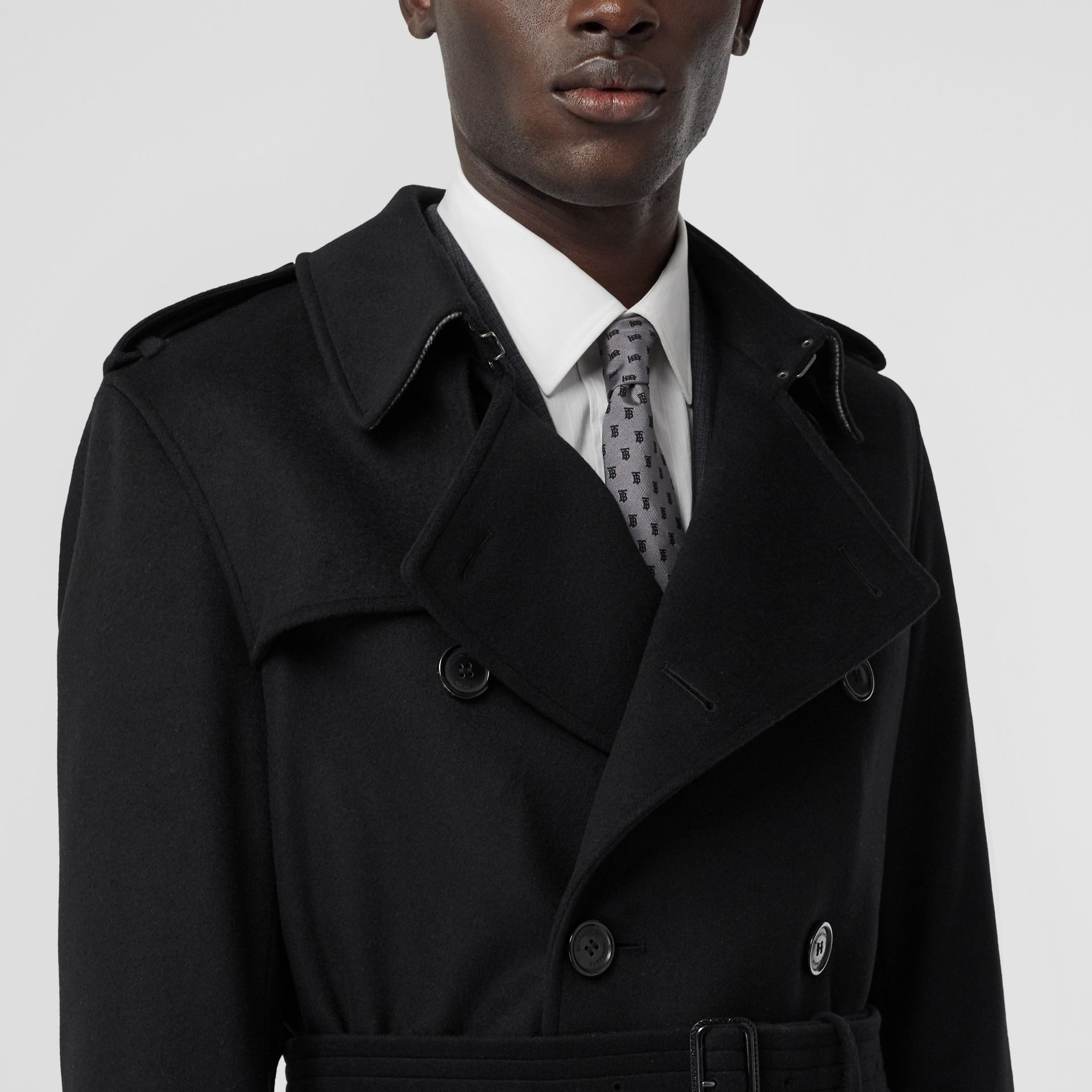 Wool Cashmere Trench Coat in Black - Men | Burberry - gallery image 4