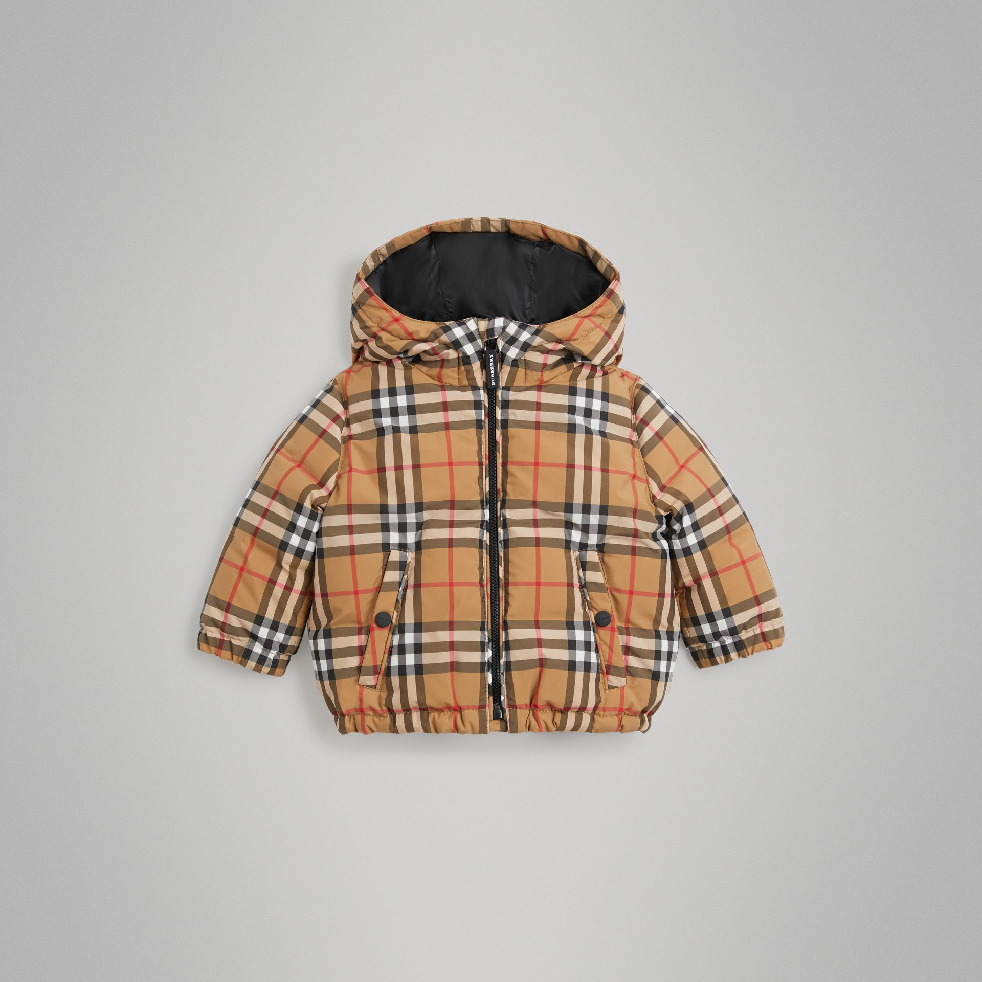 Vintage Check Down-filled Hooded Jacket in Antique Yellow - Children | Burberry - gallery image 0