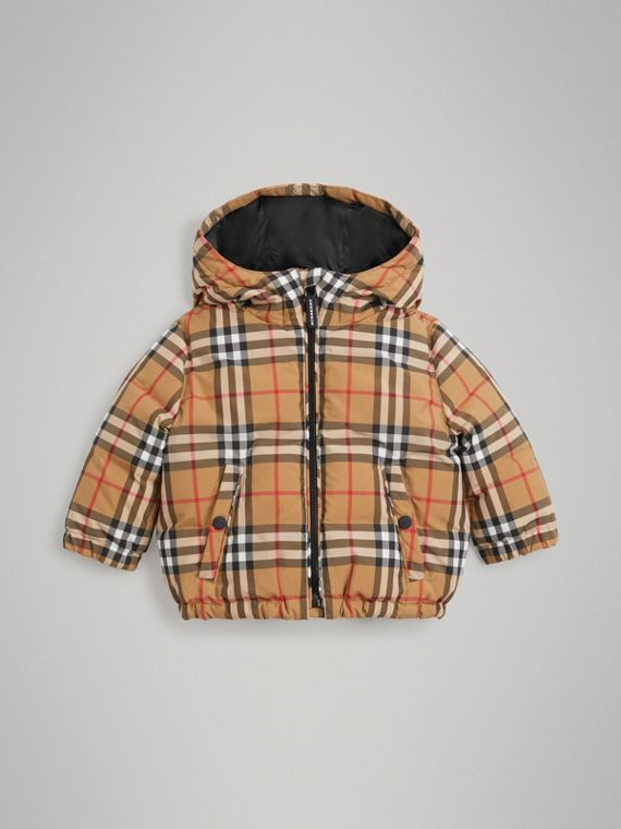 Vintage Check Down-filled Hooded Jacket in Antique Yellow