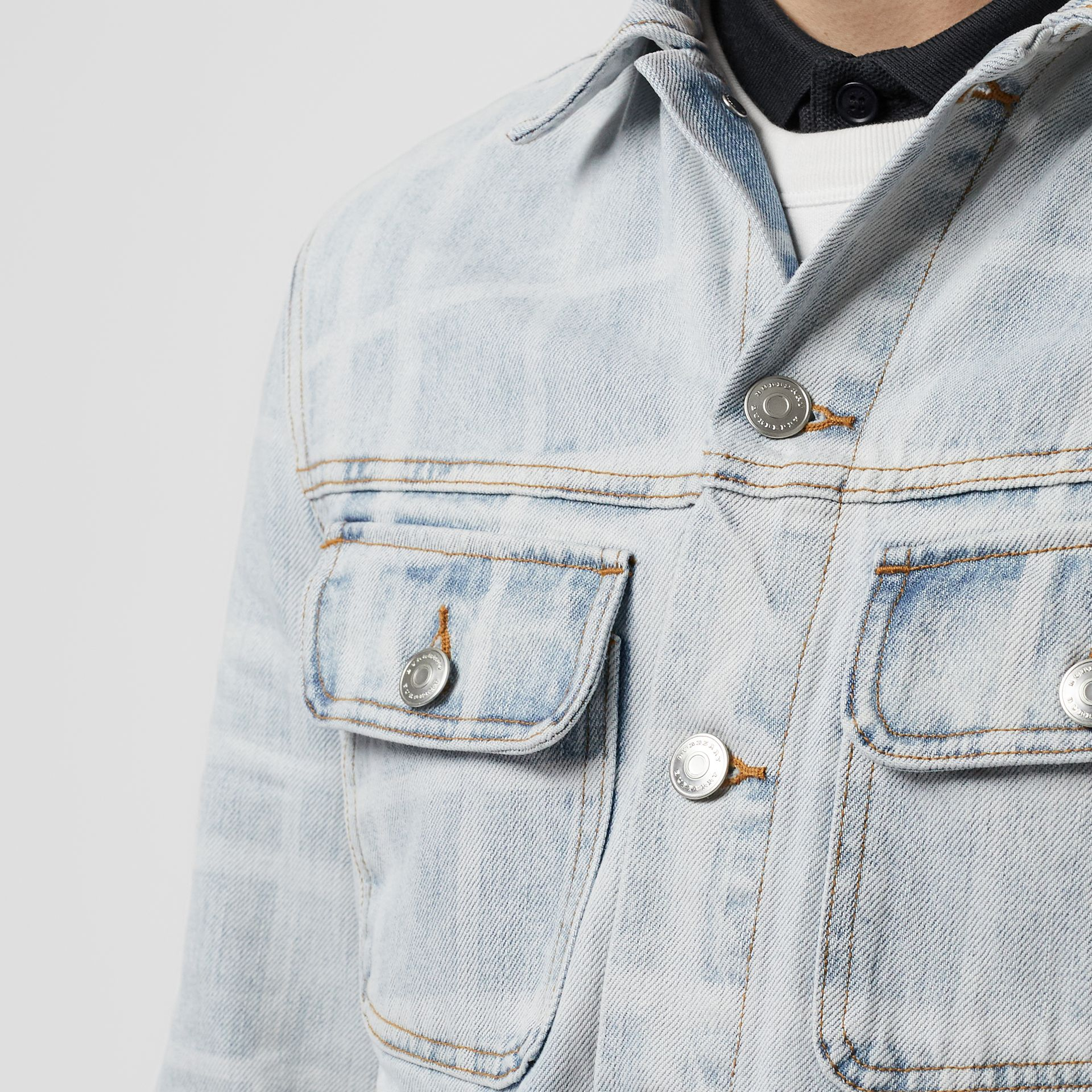 Bleached Check Denim Jacket in Light Indigo - Men | Burberry - gallery image 1