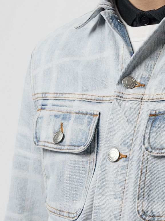 Bleached Check Denim Jacket in Light Indigo - Men | Burberry - cell image 1