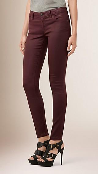 Jean skinny taille basse enduit