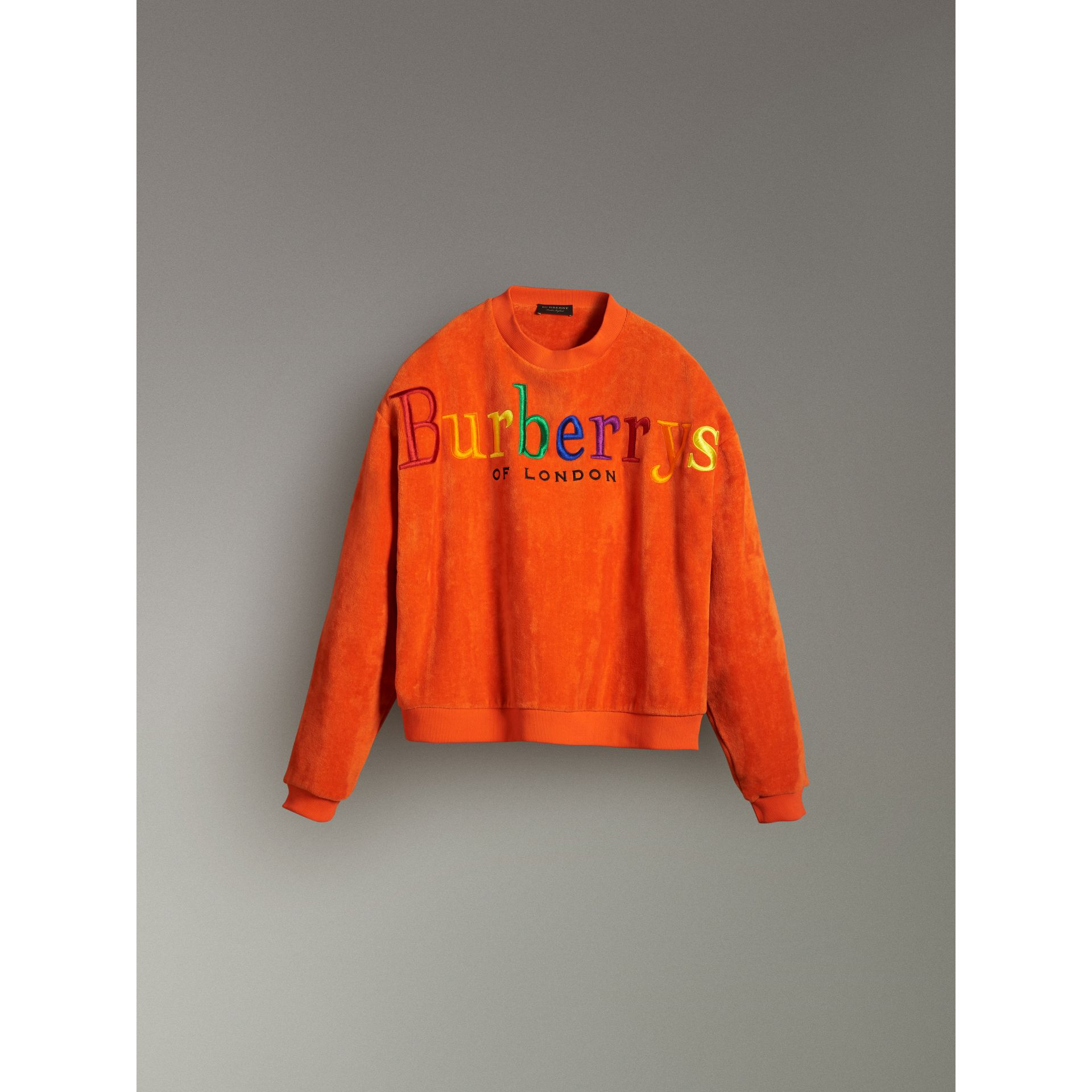 Archive Logo Towelling Sweatshirt in Tangerine - Women | Burberry United Kingdom - gallery image 3