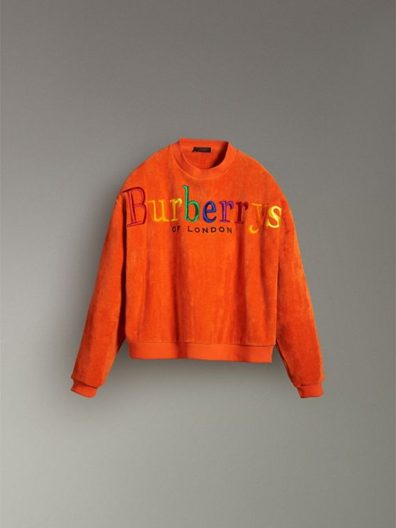 Archive Logo Towelling Sweatshirt in Tangerine - Women | Burberry United Kingdom - cell image 3