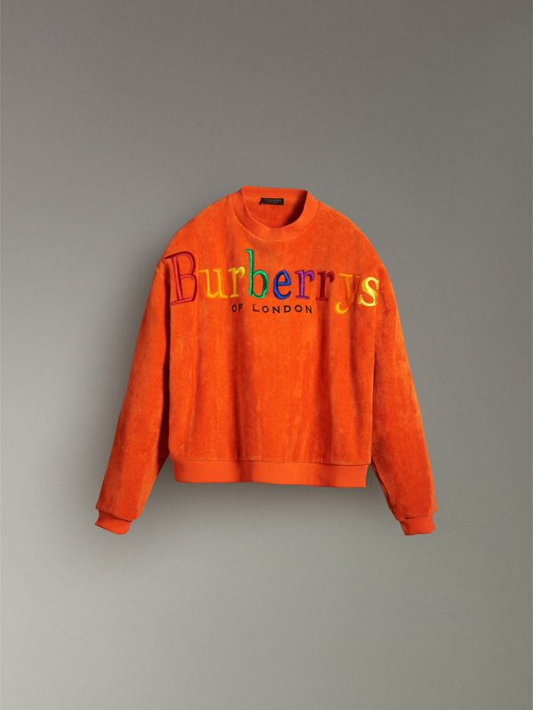 Archive Logo Towelling Sweatshirt in Tangerine - Women | Burberry Canada - cell image 3
