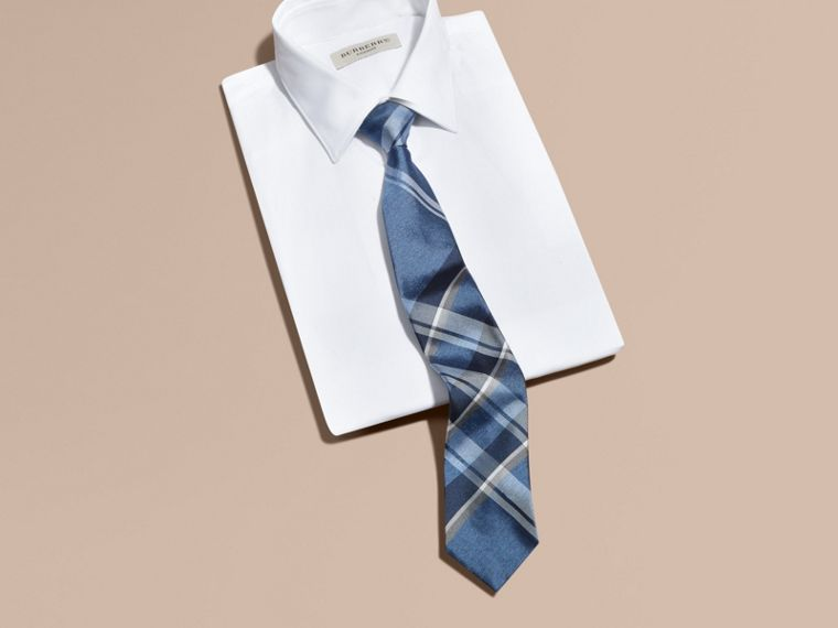 Mineral blue Modern Cut Check Jacquard Silk Tie Mineral Blue - cell image 2
