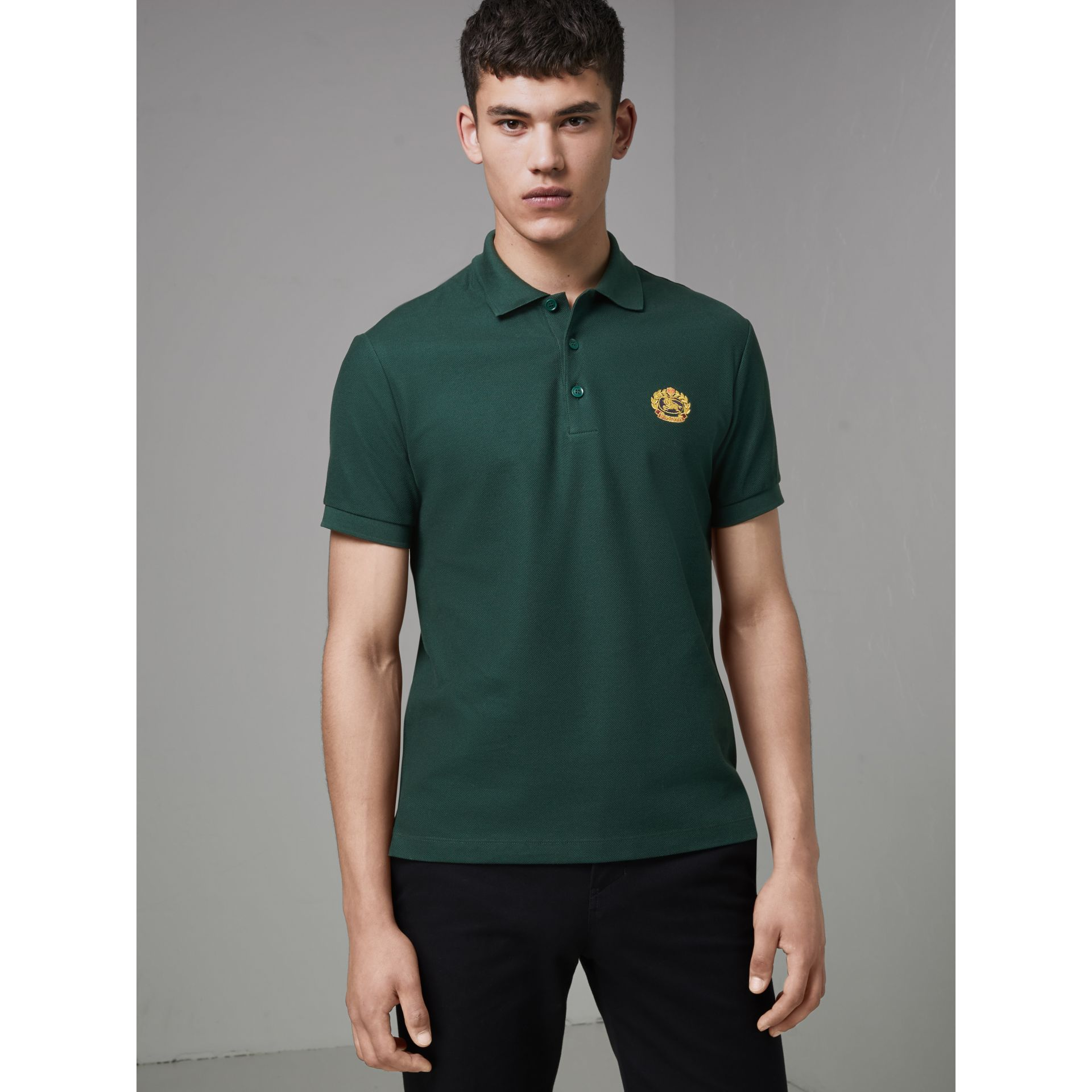 Archive Logo Cotton Piqué Polo Shirt in Dark Forest Green - Men | Burberry Singapore - gallery image 4
