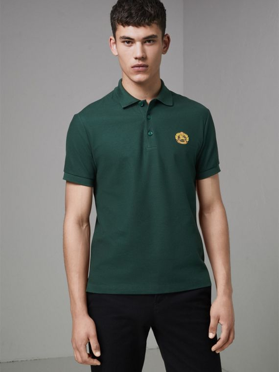 Archive Logo Cotton Piqué Polo Shirt in Dark Forest Green