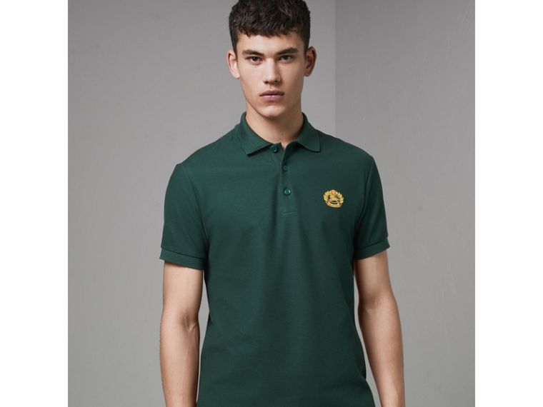 Archive Logo Cotton Piqué Polo Shirt in Dark Forest Green - Men | Burberry - cell image 4