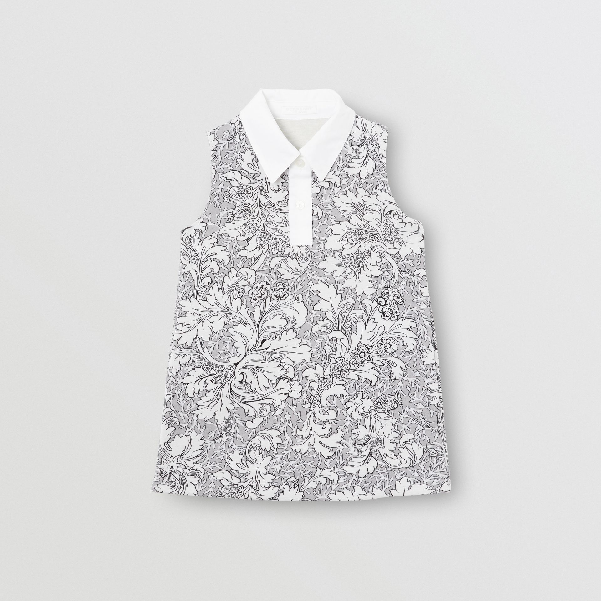Floral Print Shift Dress in Mid Grey Melange | Burberry - gallery image 0
