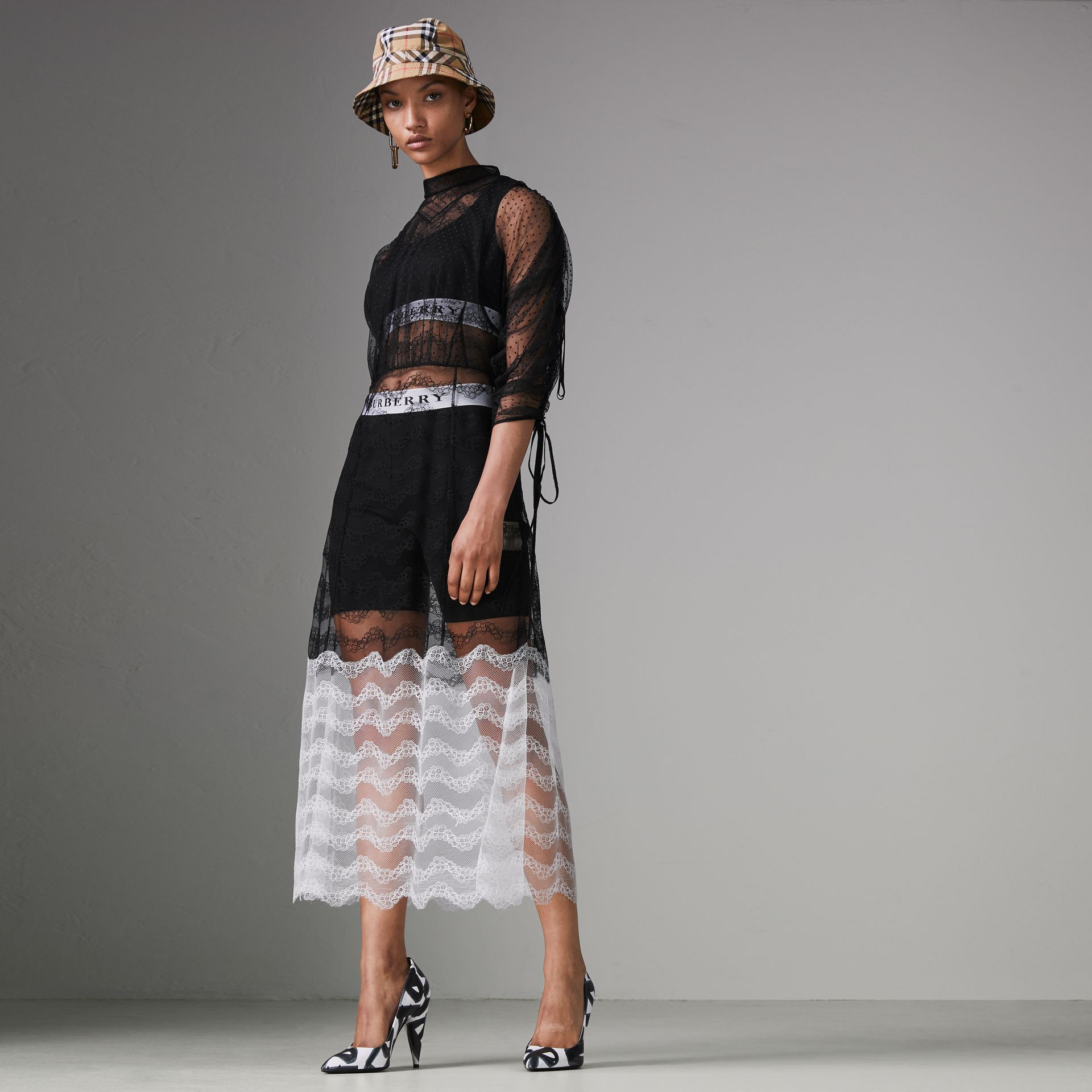 Gathered-sleeve Geometric Lace Dress in Black - Women | Burberry - gallery image 0