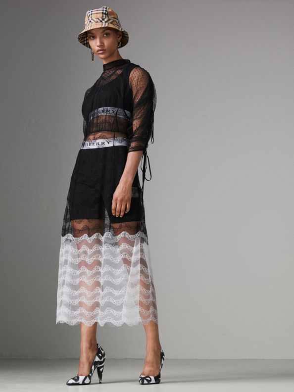 Gathered-sleeve Geometric Lace Dress in Black