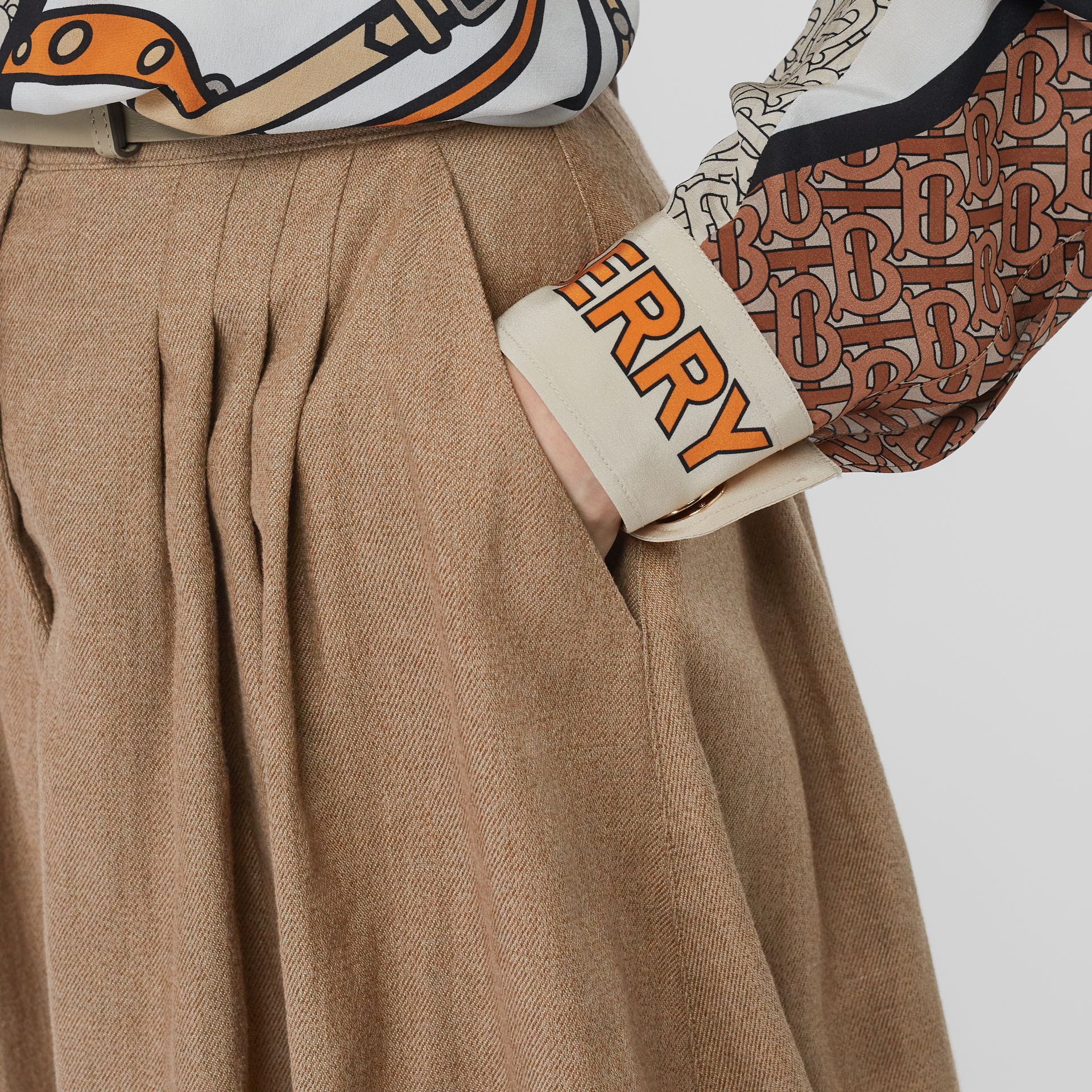 Linen Blend Bubble Hem Skirt in Driftwood - Women | Burberry Australia - gallery image 1