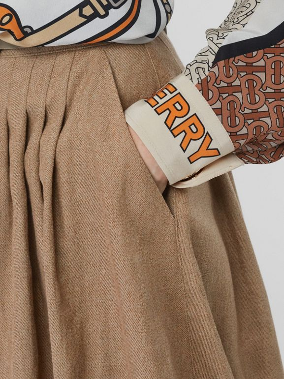 Linen Blend Bubble Hem Skirt in Driftwood - Women | Burberry Australia - cell image 1