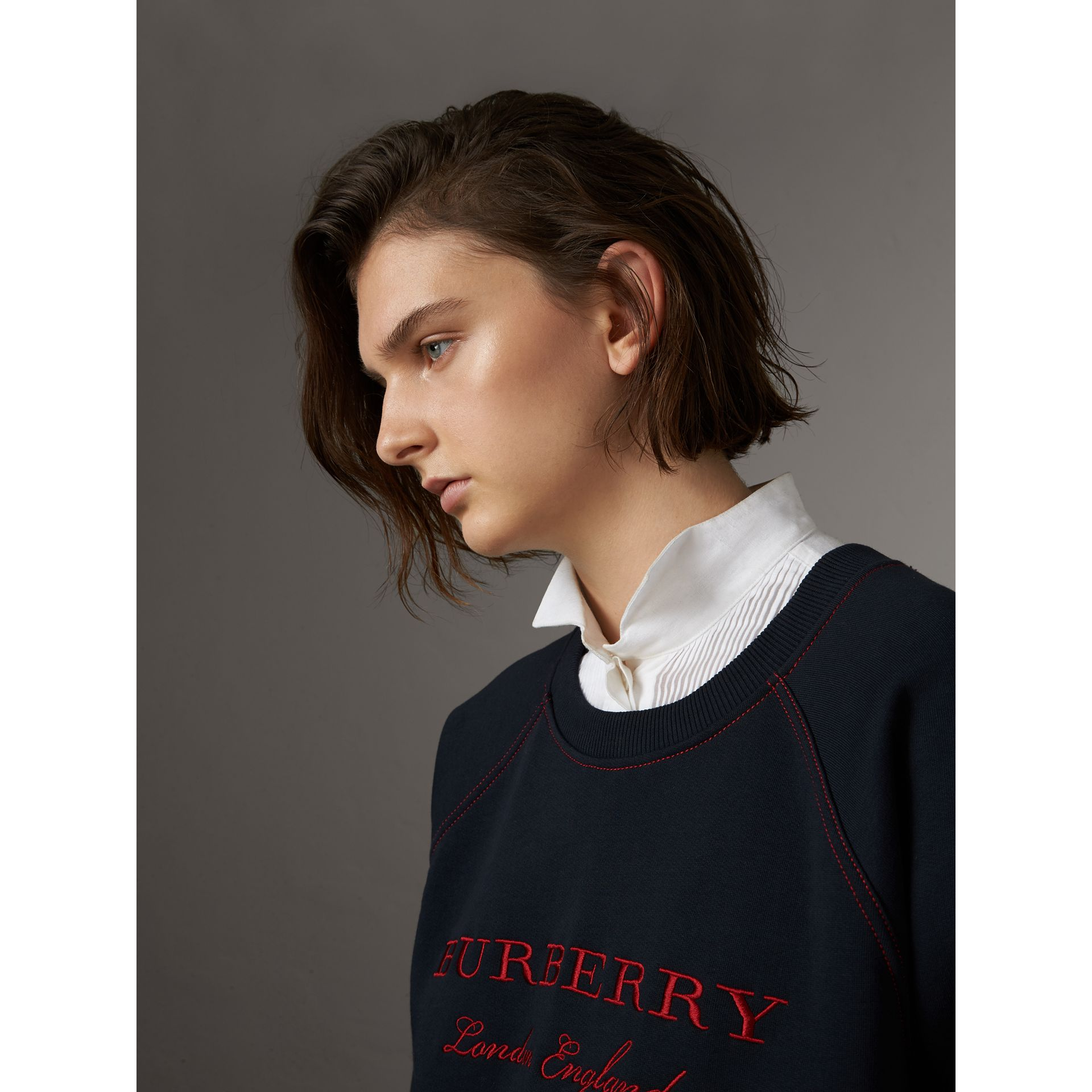 Embroidered Cotton Blend Jersey Sweatshirt in Navy - Women | Burberry Australia - gallery image 1