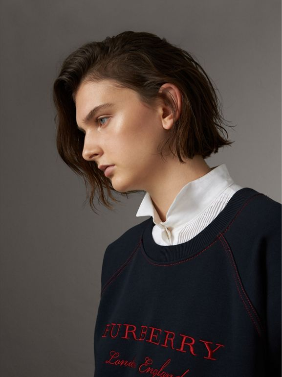 Embroidered Cotton Blend Jersey Sweatshirt in Navy - Women | Burberry - cell image 1
